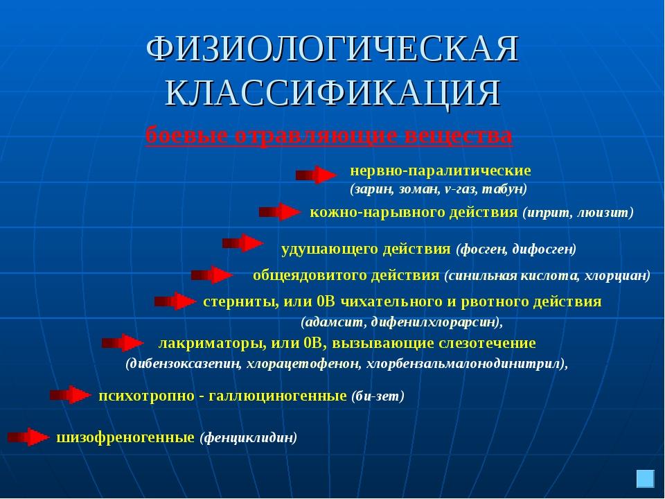 ФИЗИОЛОГИЧЕСКАЯ КЛАССИФИКАЦИЯ нервно-паралитические (зарин, зоман, v-газ, таб...