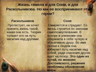 Жизнь тяжела и для Сони, и для Раскольникова. Но как ее воспринимают эти геро