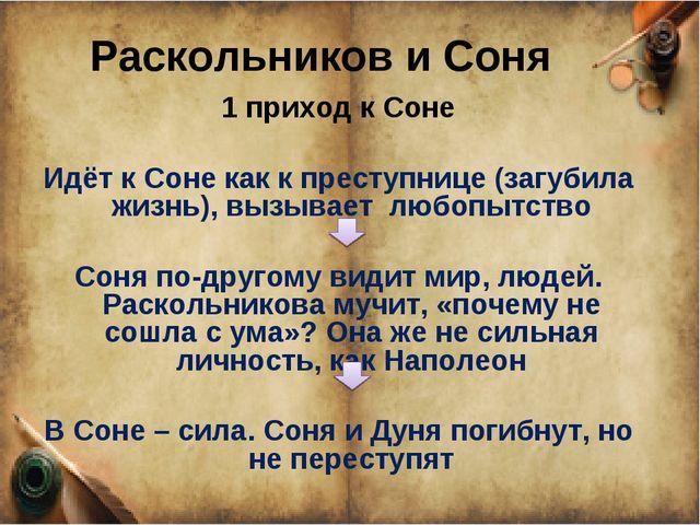 Раскольников и Соня 1 приход к Соне Идёт к Соне как к преступнице (загубила ж...