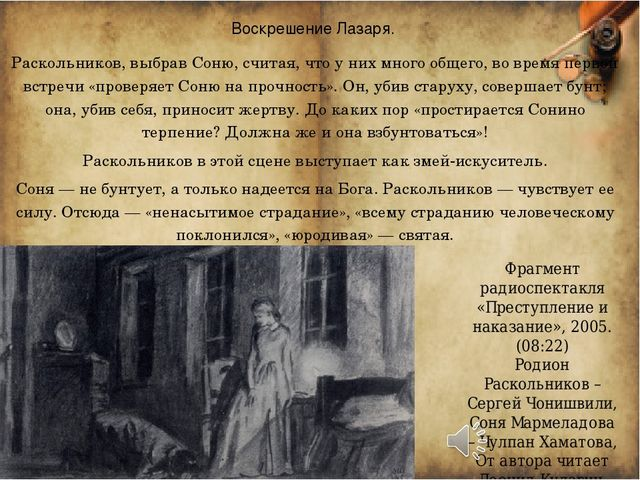 Воскрешение Лазаря. Раскольников, выбрав Соню, считая, что у них много общего...
