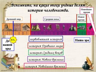 Древний мир Средние века Новейшее время Наша эра До нашей эры Р.Х. Вспомните