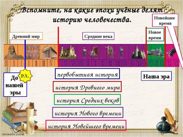 Древний мир Средние века Новейшее время Наша эра До нашей эры Р.Х. Вспомните...