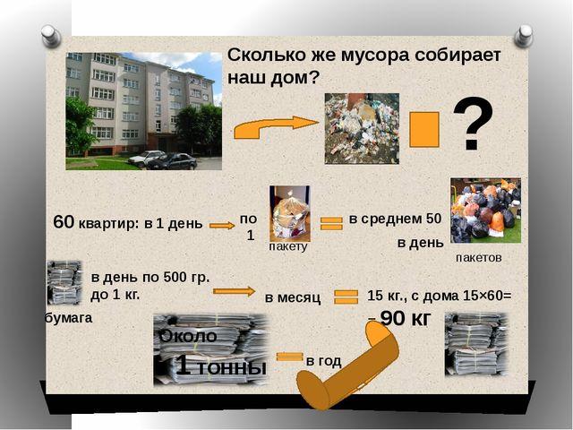 ? Сколько же мусора собирает наш дом? 60 квартир: в 1 день в среднем 50 в де...