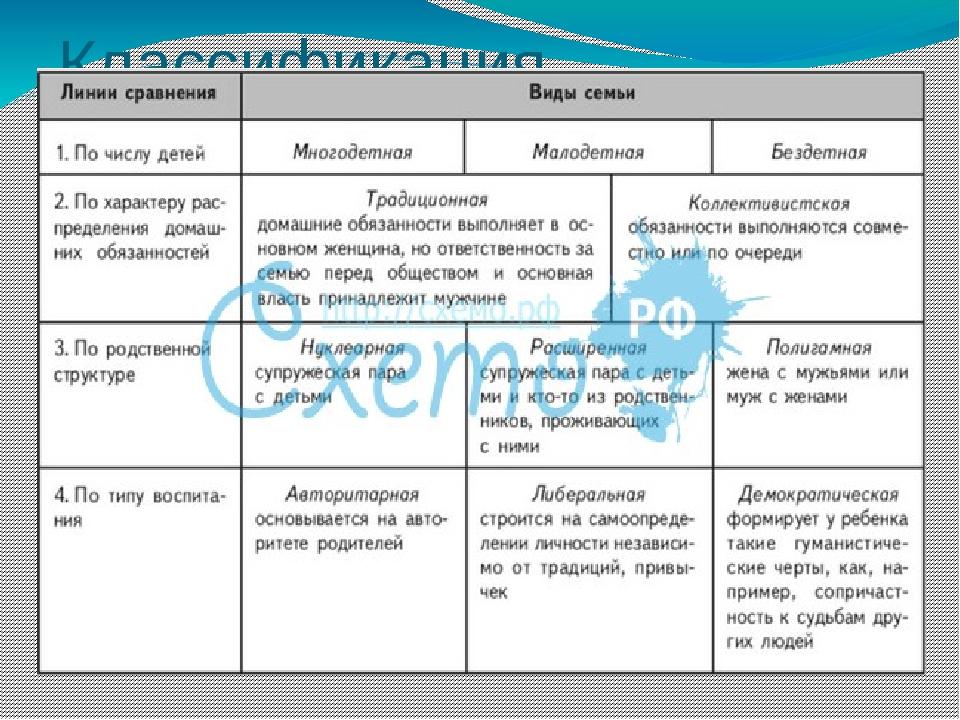 Шпаргалки классификация семьи структурный состав