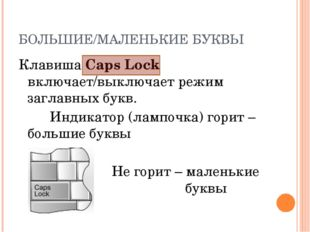 БОЛЬШИЕ/МАЛЕНЬКИЕ БУКВЫ Клавиша Caps Lock включает/выключает режим заглавных