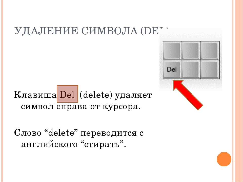 УДАЛЕНИЕ СИМВОЛА (DEL) Клавиша Del (delete) удаляет символ справа от курсора....