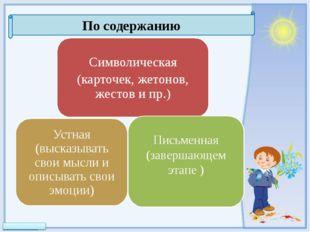 По содержанию Символическая (карточек, жетонов, жестов и пр.) Устная (высказы