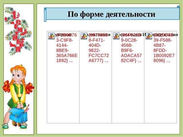 По форме деятельности © Фокина Лидия Петровна