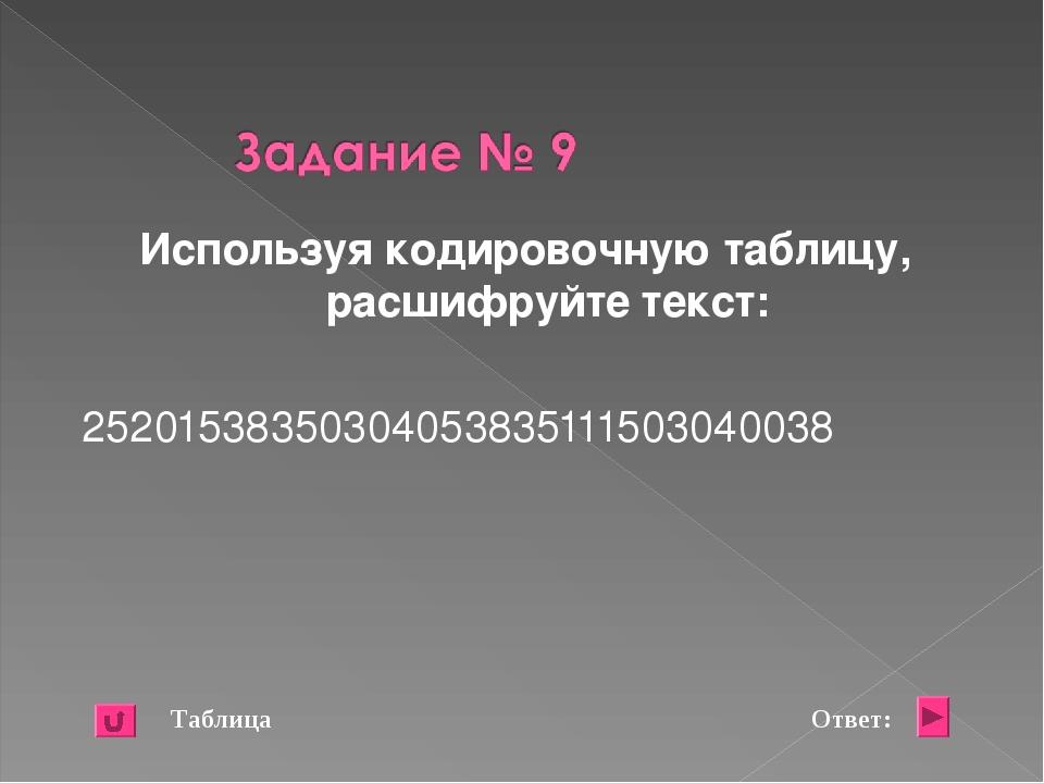 Используя кодировочную таблицу, расшифруйте текст: 25201538350304053835111503...