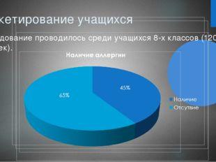 Анкетирование учащихся Исследование проводилось среди учащихся 8-х классов (1