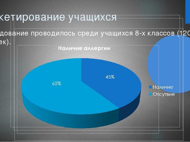 Анкетирование учащихся Исследование проводилось среди учащихся 8-х классов (1...