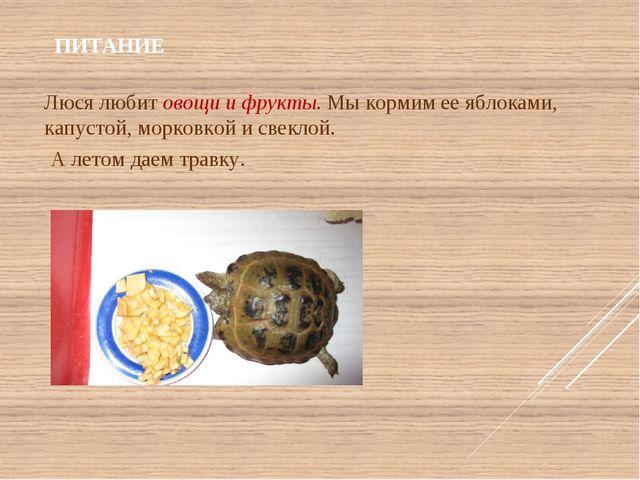 ПИТАНИЕ Люся любит овощи и фрукты. Мы кормим ее яблоками, капустой, морковко...