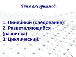 Типы алгоритмов. 1. Линейный (следование). 2. Разветвляющийся (развилка). 3.