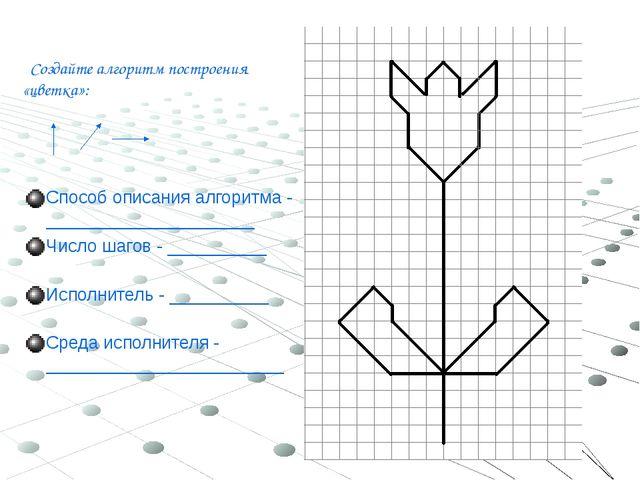 Создайте алгоритм построения «цветка»: Способ описания алгоритма - __________...