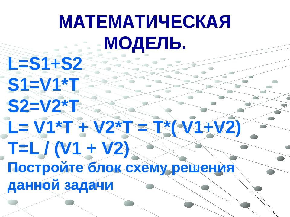 МАТЕМАТИЧЕСКАЯ МОДЕЛЬ. L=S1+S2 S1=V1*T S2=V2*T L= V1*T + V2*T = T*( V1+V2) T=...