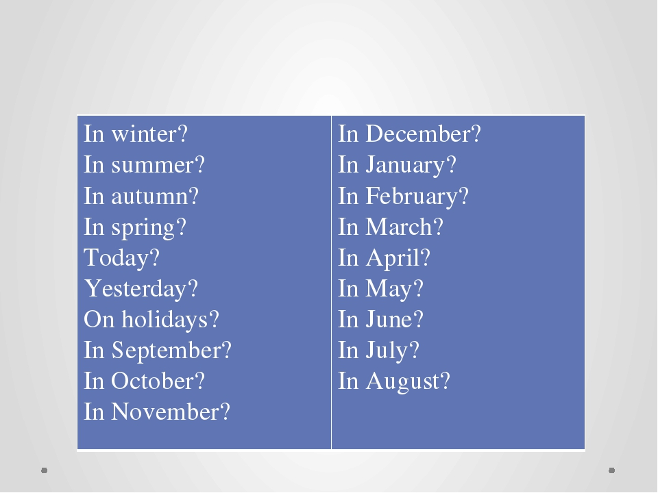 What is the weather like? In winter? In summer? In autumn? In spring? Today?...