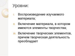 Уровни: Воспроизведение изучаемого материала; Включение материала, в котором