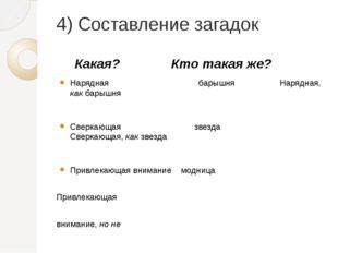 4) Составление загадок Какая? Кто такая же? Нарядная барышня Нарядная, как ба