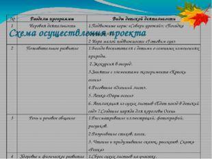 Схема осуществления проекта № Разделы программы Виды детской деятельности 1