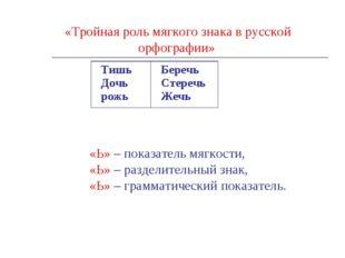 «Тройная роль мягкого знака в русской орфографии» «Ь» – показатель мягкости,