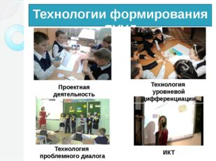 Технологии формирования ЛУУД Проектная деятельность Технология проблемного ди