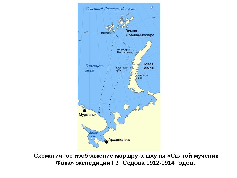Схематичное изображение маршрута шхуны «Святой мученик Фока» экспедиции Г.Я.С...