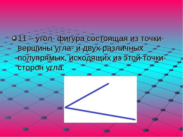 11 – угол- фигура состоящая из точки-вершины угла- и двух различных полупрямы...
