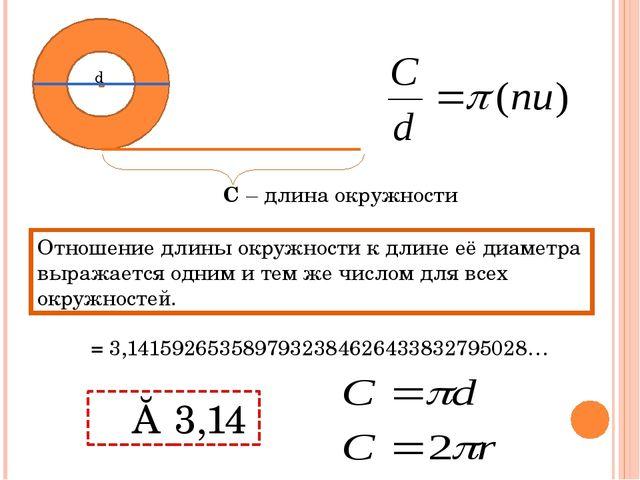 d C – длина окружности Отношение длины окружности к длине её диаметра выражае...