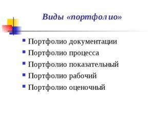 Виды «портфолио» Портфолио документации Портфолио процесса Портфолио показате