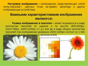 Растровое изображение – изображение, представляющее собой сеткупикселей– цв