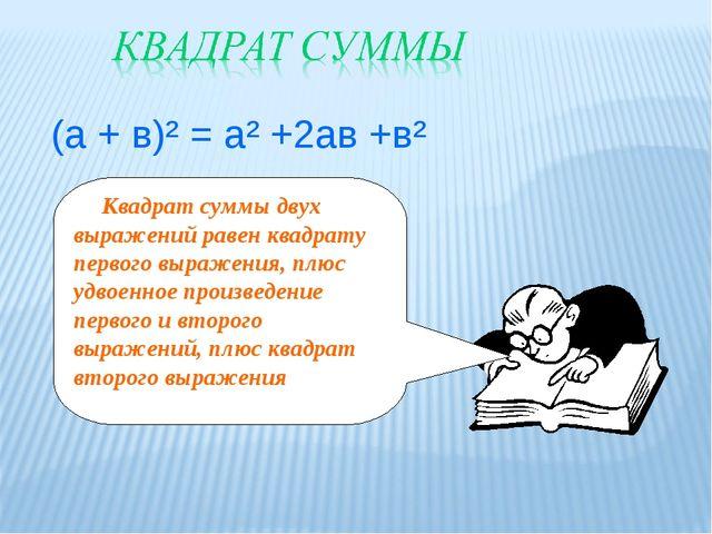 (а + в)² = а² +2ав +в² Квадрат суммы двух выражений равен квадрату первого в...