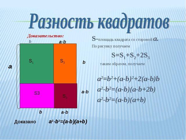 S-площадь квадрата со стороной a. По рисунку получаем S=S1+S2+2S3 таким образ...