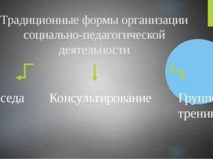 Традиционные формы организации социально-педагогической деятельности Беседа К
