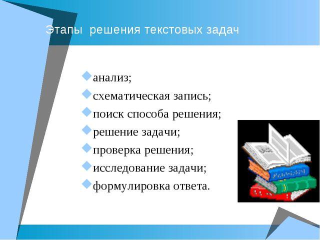 Этапы решения текстовых задач анализ; схематическая запись; поиск способа ре...