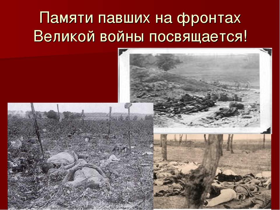 Памяти павших на фронтах Великой войны посвящается!