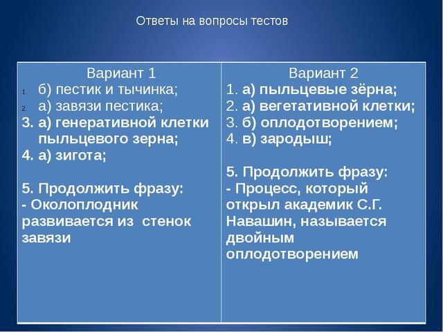 Ответы на вопросы тестов Вариант 1 б) пестик и тычинка; а) завязи пестика; а)...