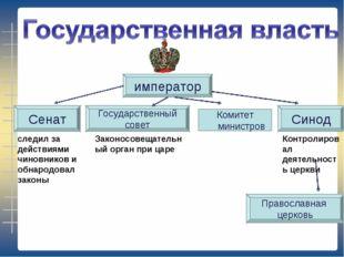император Комитет министров Сенат Синод Государственный совет Православная це