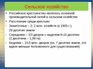 Сельское хозяйство Российское крестьянство являлось основной производительной