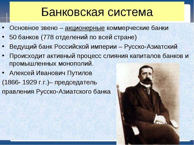 Банковская система Основное звено – акционерные коммерческие банки 50 банков...