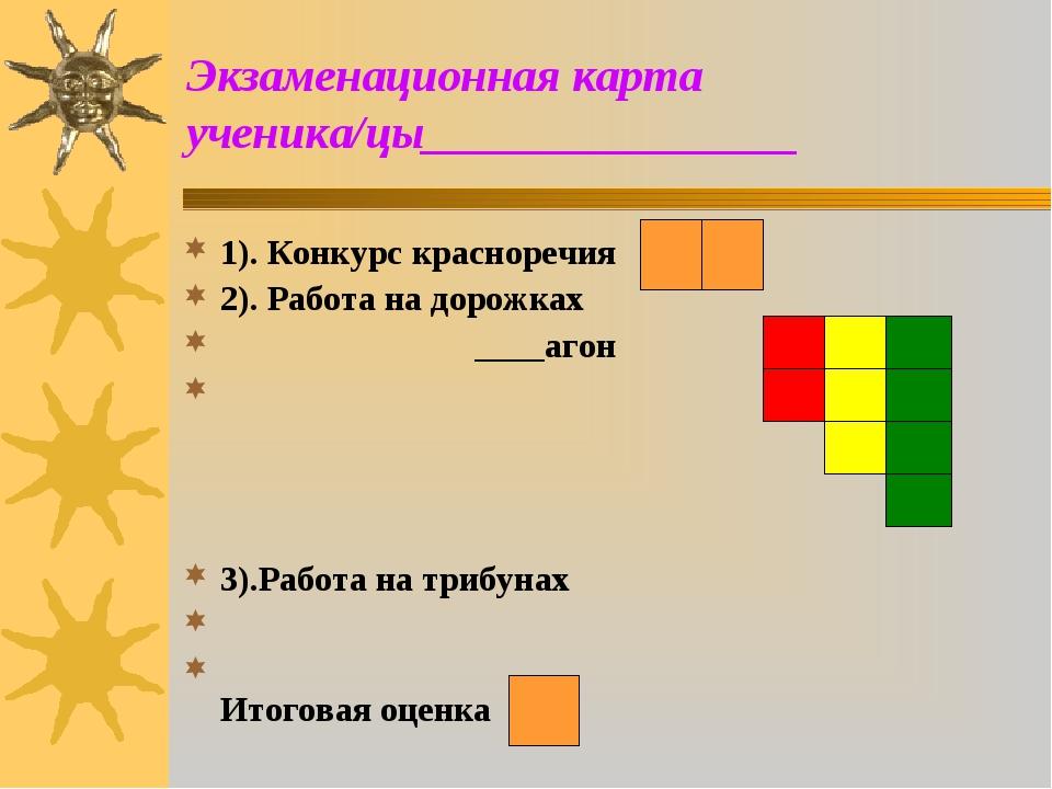 Экзаменационная карта ученика/цы________________ 1). Конкурс красноречия 2)....