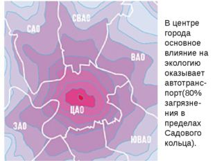 В центре города основное влияние на экологию оказывает автотранс-порт(80% заг