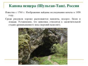 Капова пещера (Шульган-Таш). Россия Известна с 1760 г. Изображения найдены ис