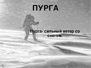 ПУРГА Пурга- сильный ветер со снегом.
