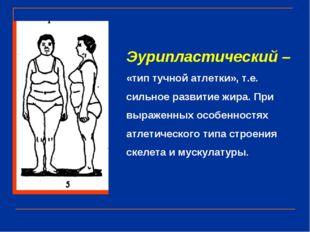 Эурипластический – «тип тучной атлетки», т.е. сильное развитие жира. При выра