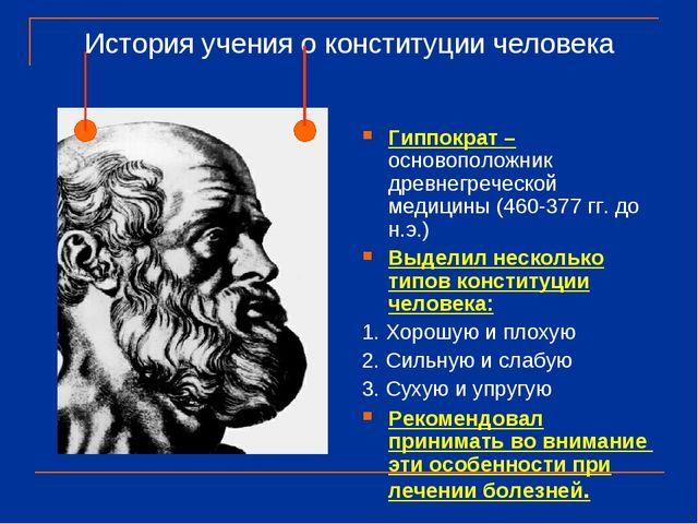 История учения о конституции человека Гиппократ – основоположник древнегречес...