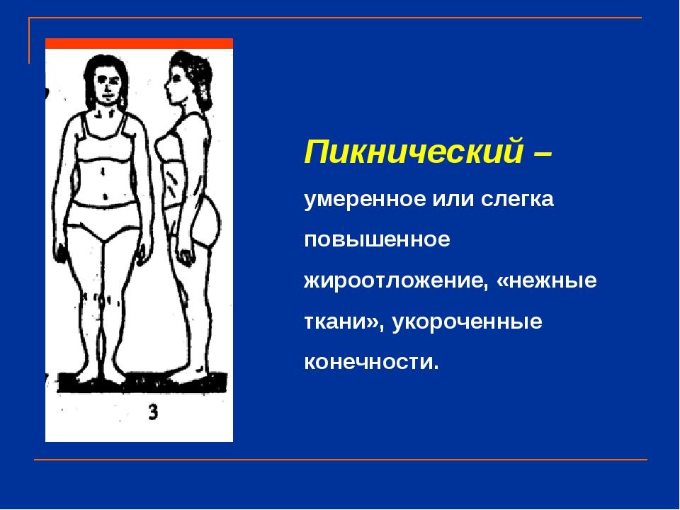 Пикнический – умеренное или слегка повышенное жироотложение, «нежные ткани»,...