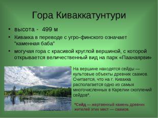Гора Киваккатунтури высота - 499 м Кивакка в переводе с угро-финского означае