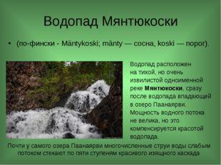 Водопад Мянтюкоски (по-фински -Mäntykoski; mänty— сосна, koski—порог). Во