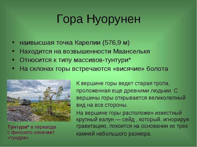Гора Нуорунен наивысшая точка Карелии (576,9 м) Находится на возвышенности Ма...