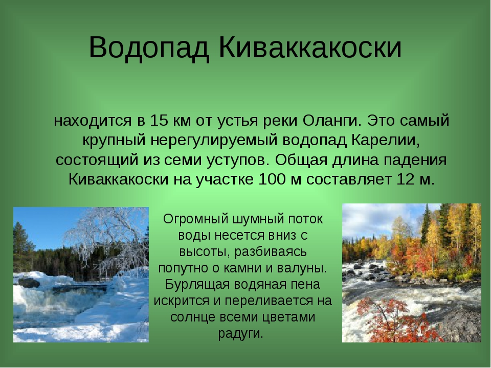 Водопад Киваккакоски находится в 15 км от устья реки Оланги. Это самый крупн...